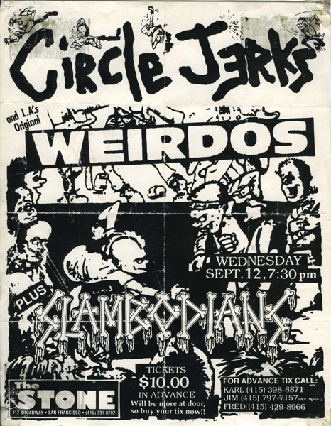Poster for show featuring the L.A. punk bands Circle  Jerks and The Wierdos at The Stone, San Francisco.