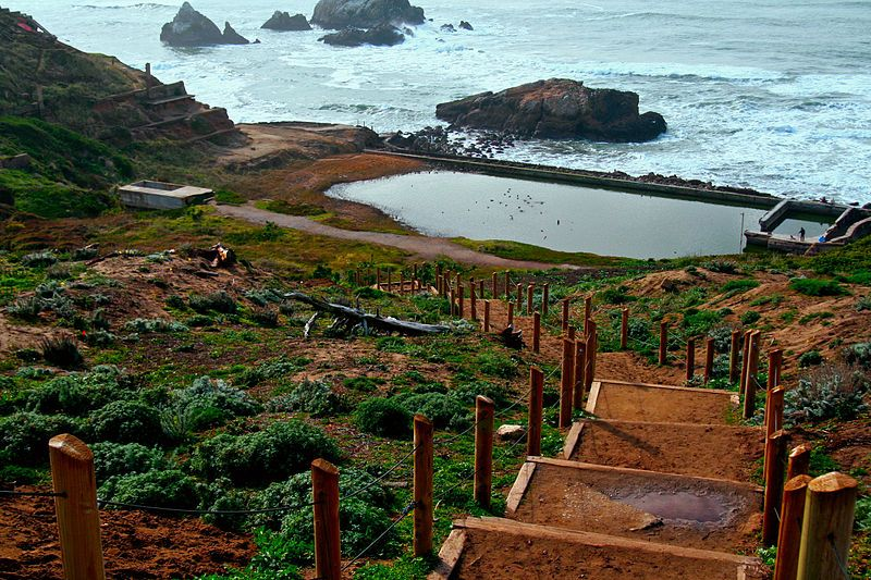 Stairs leading from the Overlook to the Sutro Baths.