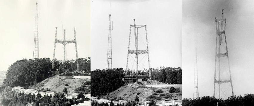 The construction of Sutro Tower, circa 1971