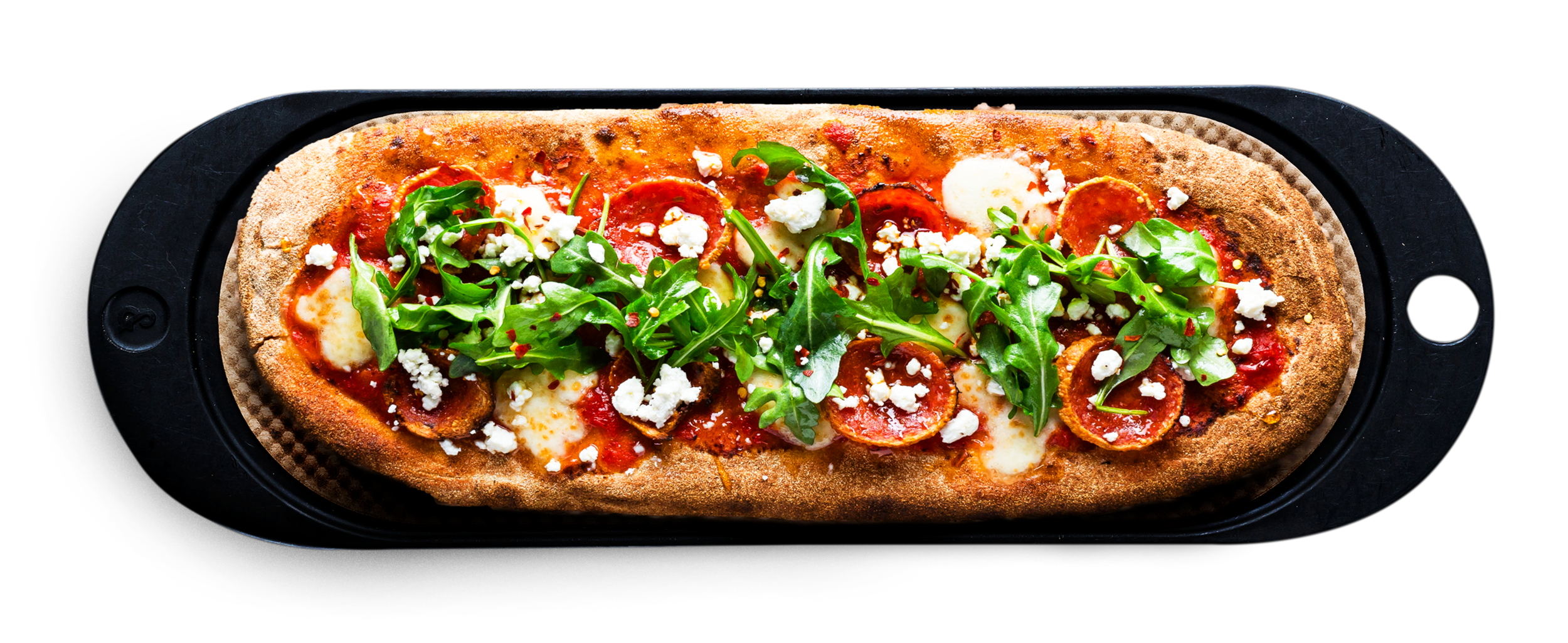 AMERICAN HONEY - Spicy tomato, fresh mozzarella, pepperoni, arugula, goat cheese, hot honey, red pepper flakes