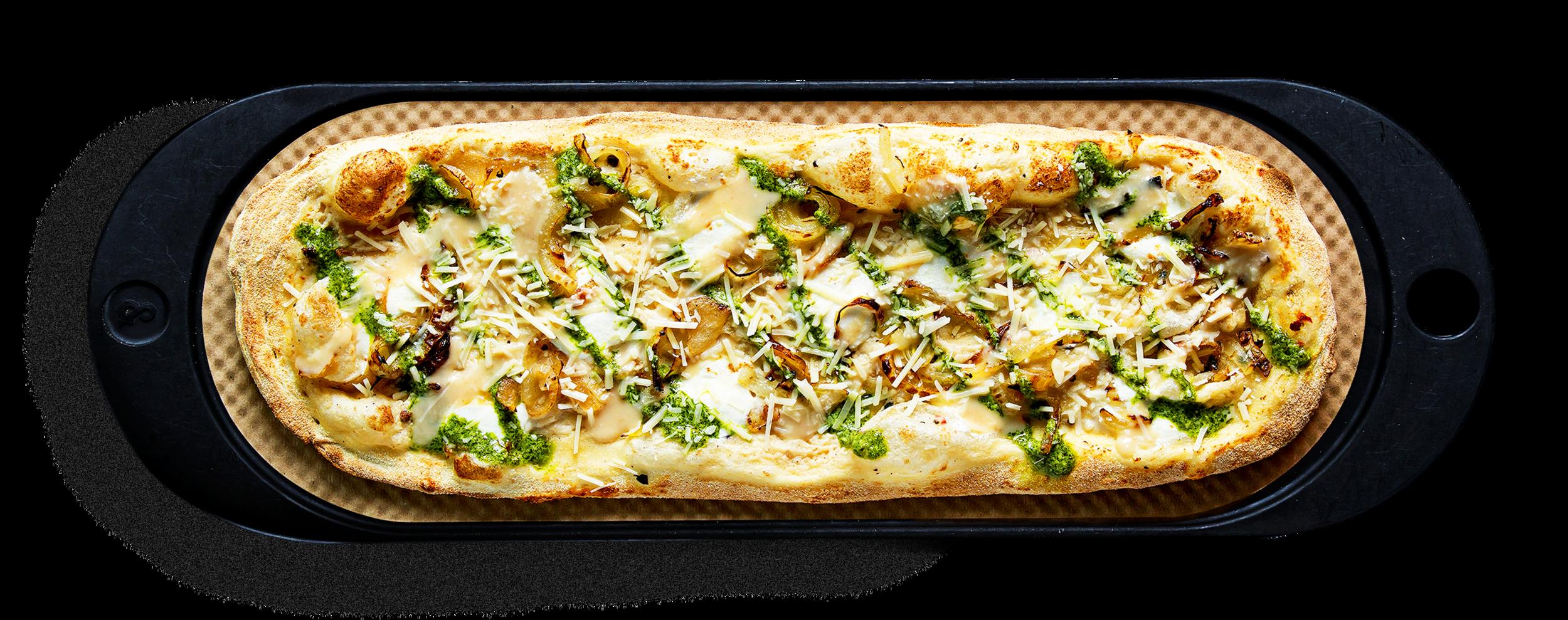 GNARLIC - Garlic ricotta, fresh mozzarella, grilled onion, basil pesto, garlic oil, parmesan