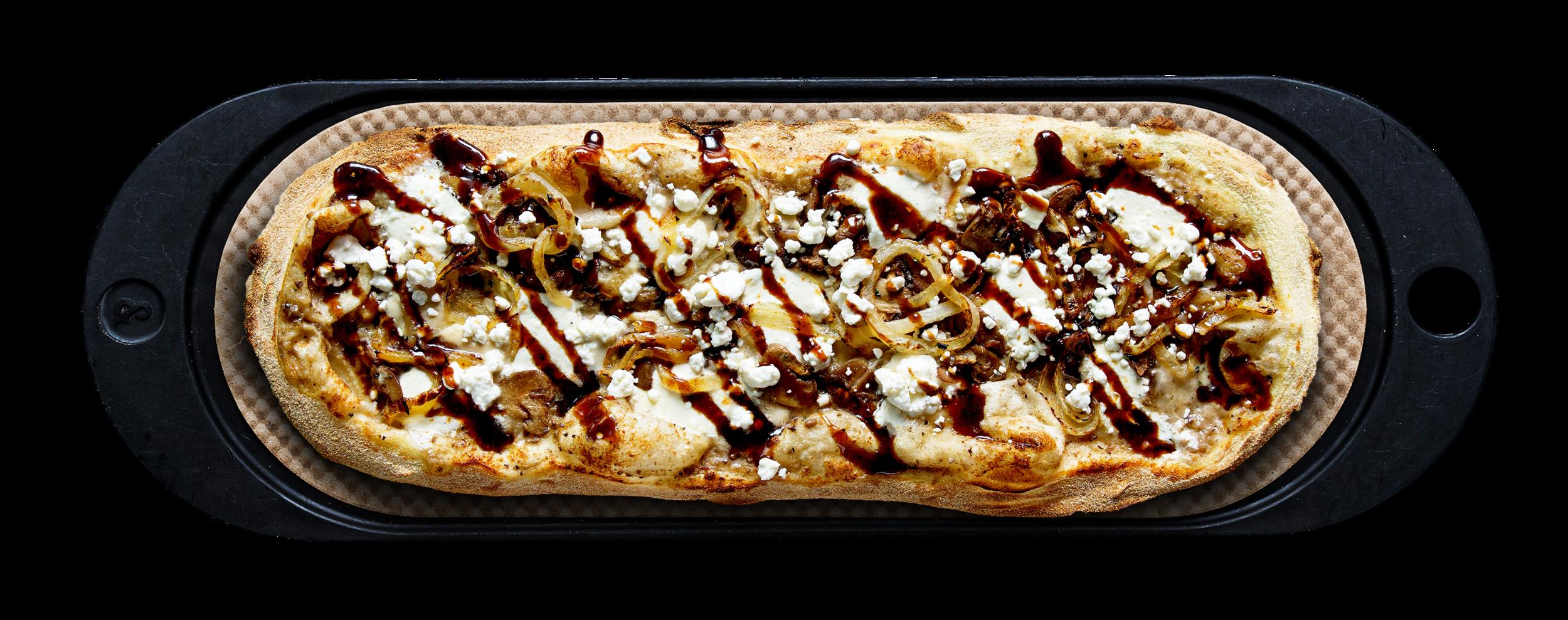 MOONSTRUCK - Mushroom truffle, garlic ricotta, fresh mozzarella, grilled onion, mushroom, goat cheese, fig balsamic
