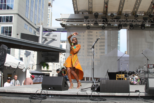 Amanie Illfated performs at Yonge Dundas Square in Toronto as part of TDotFest 2018