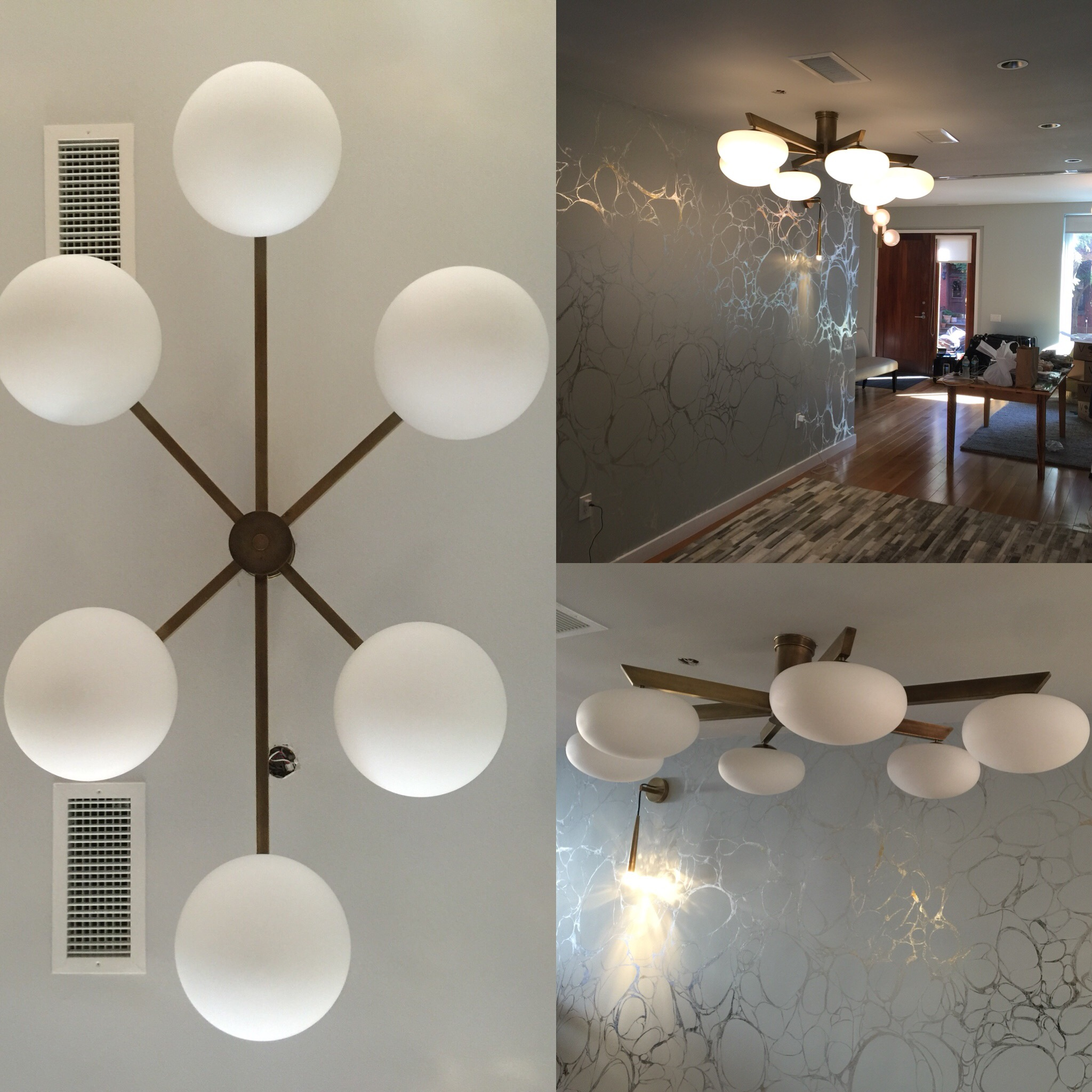 Brass + Glass Angelo Lelli style ceiling fixture