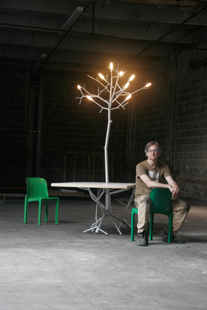 LiveEdge Table with integral newGROWTH Chandelier