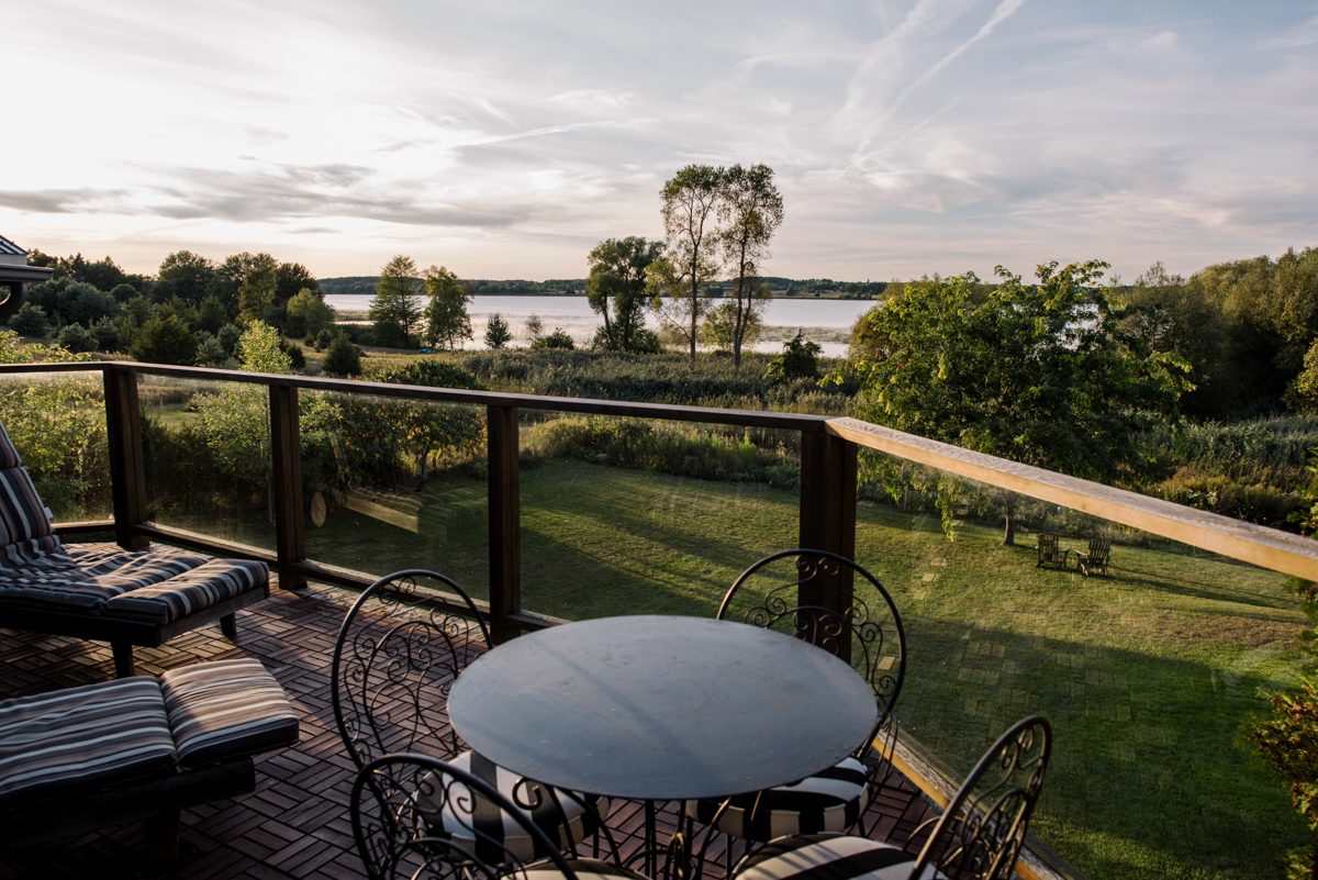 Look out balcony, with sunset views over East Lake in Prince Edward County