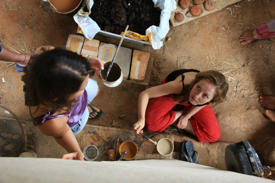 volunteer community painting eco village construction house bio