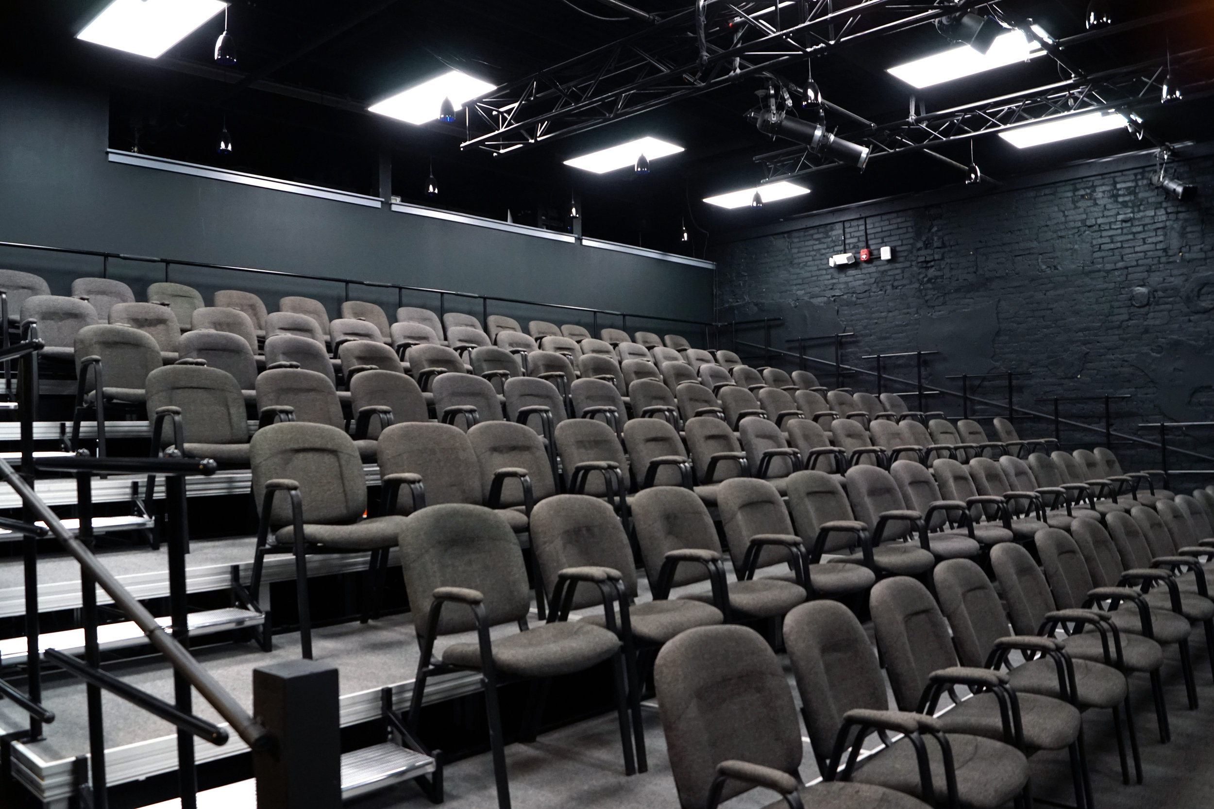 an intimate 98-seat theater space