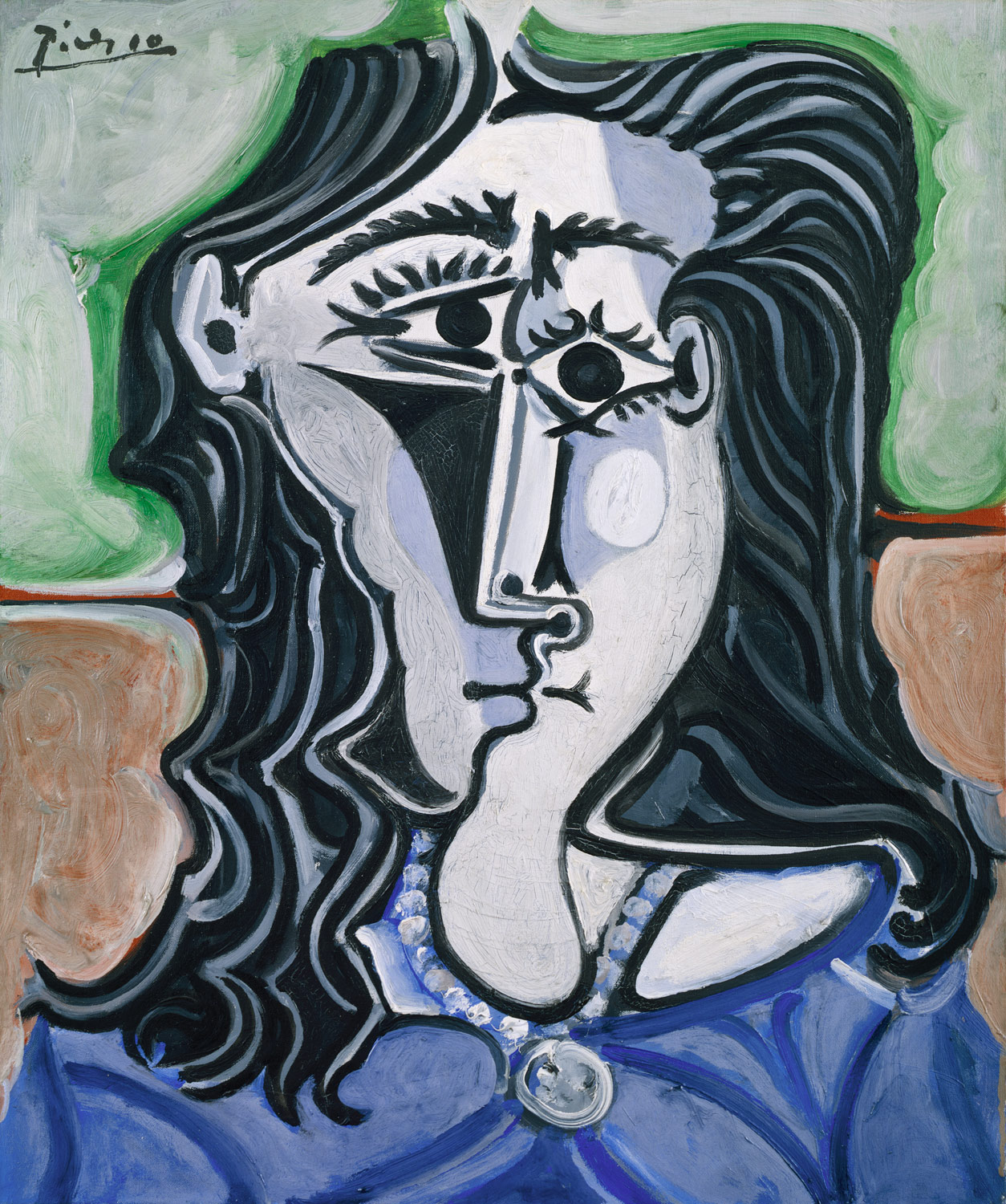 """Head of a Woman"" 1960 by Pablo Picasso, painting in the Met Museum collection"