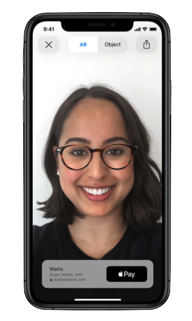 Warby Parker app, Apple Pay integrated directly with AR Quick Look