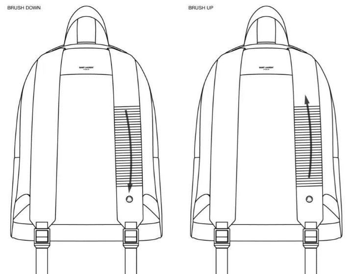 Gestures to interact with your smartphone on the YSL Cit-E backpack shoulder strap
