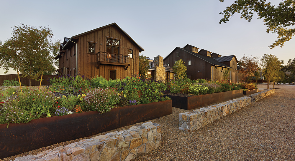 A RETURN to THE FARM - Taylor Lombardo Architects designer Wheeler Farms winer in Saint Helena to reflect its historic agricultural and to celebrate its owner's love for Napa Valley. The result is a rustic yet state-of-the-art custom-crush winery with the feel of a historic farm compound.