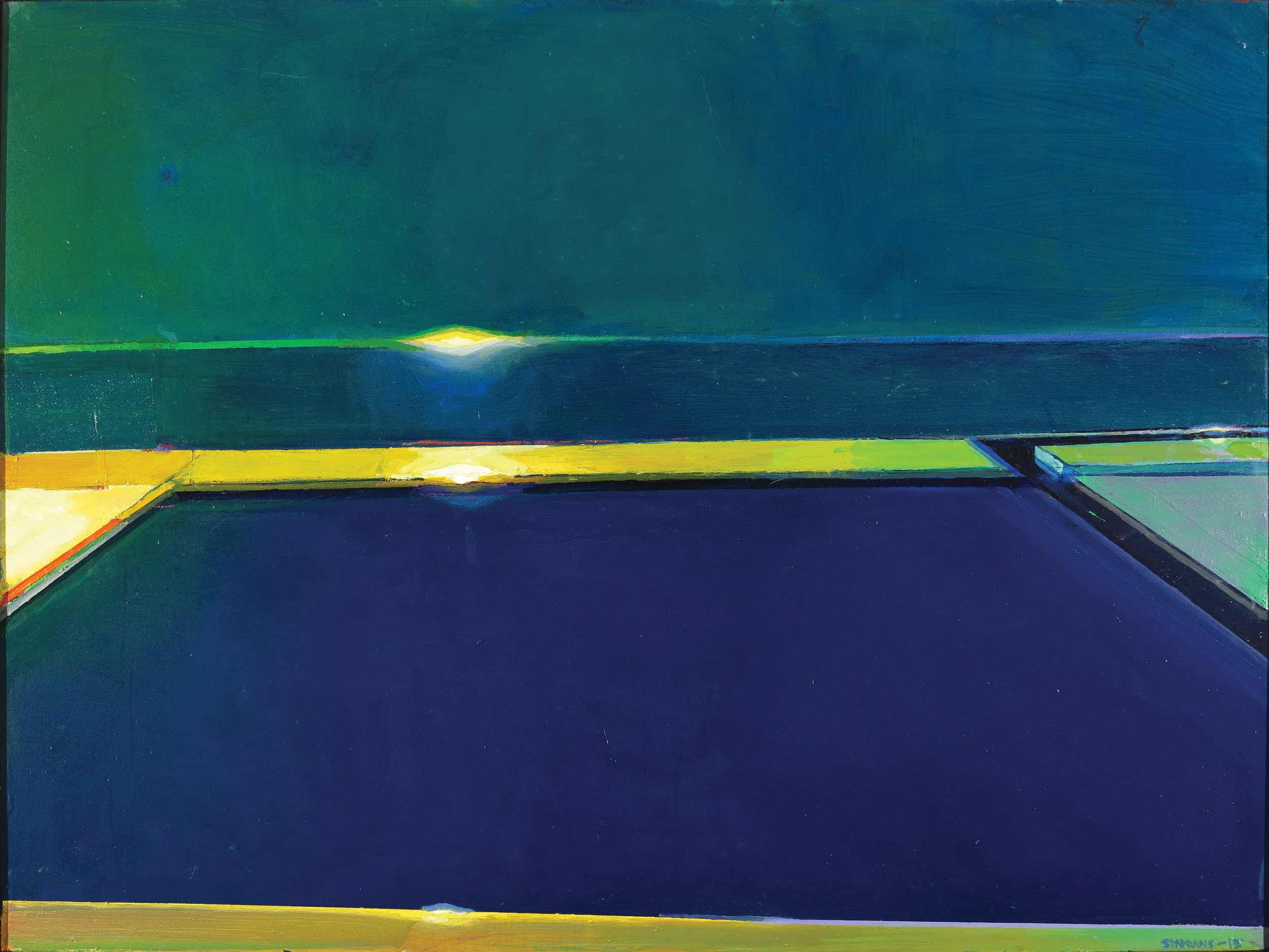 Raimonds Staprans – Empty Evening Docks (detail), 36 x 48 in, 2015, oil on canvas