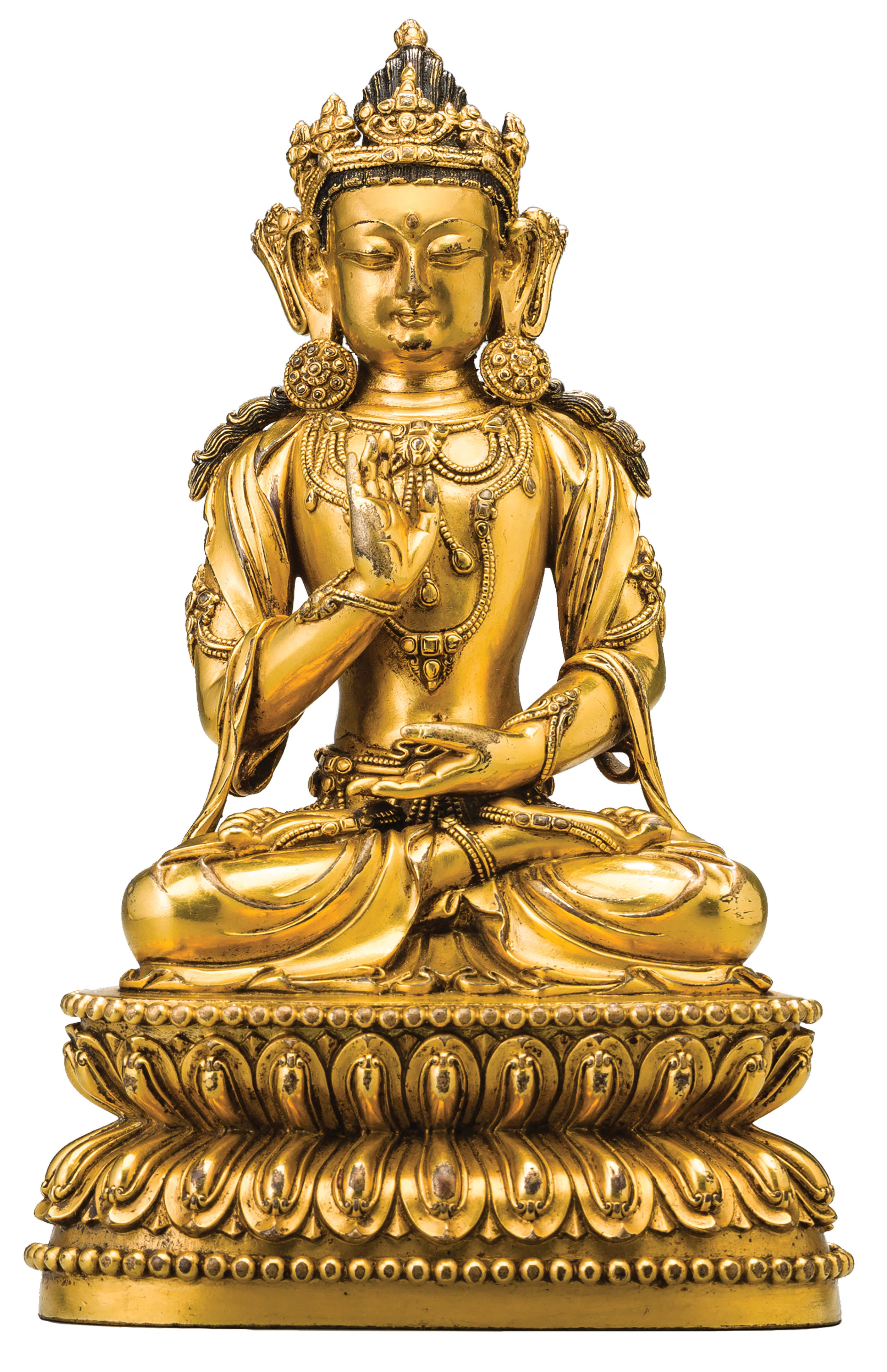 Buddha Amoghasiddhi (detail), China, Yongle Mark and Period, 1402-1424, gilt copper alloy with pigment