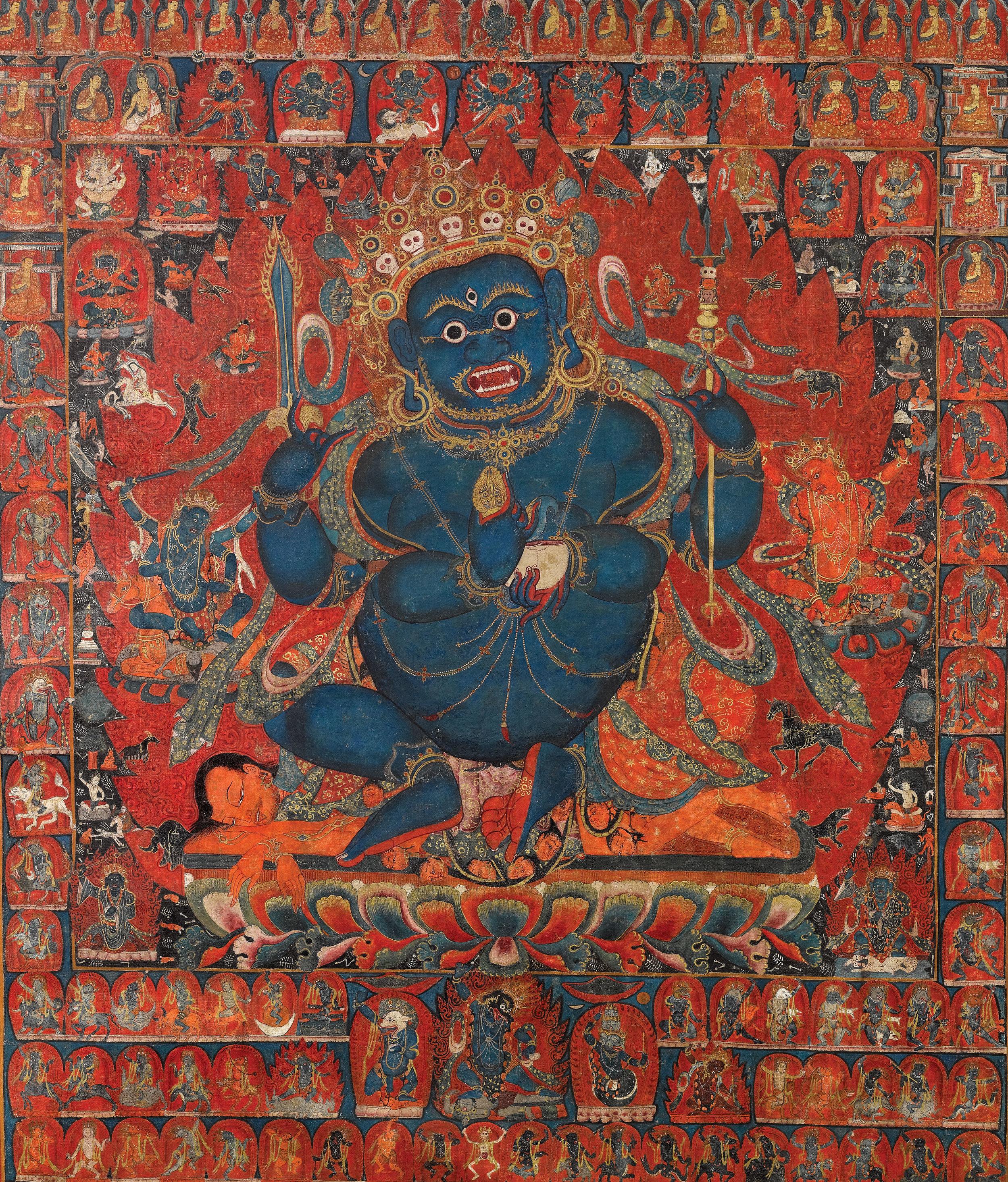 Seated Four-Arm Mahakala (detail), West Tibet, 14-15th Century, distemper on cloth