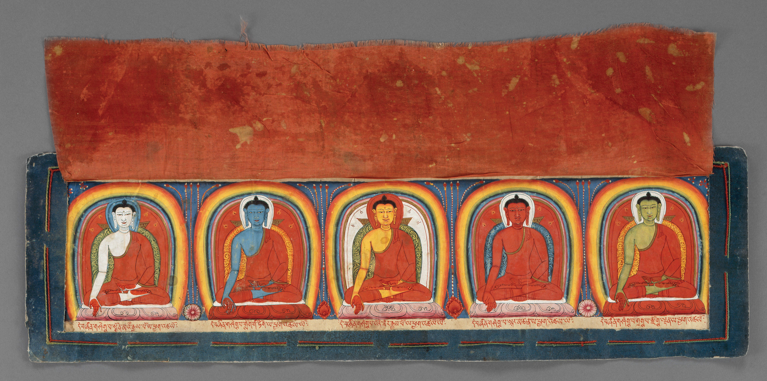 Five Buddha Illuminations (detail), on Black Manuscript Pages, Tibet, 12-13th Century, pigments on paper, silk cover