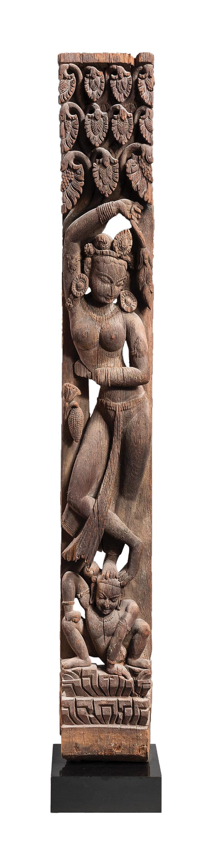 Left: Yakshi (Celestial Nymph/Devi), Nepal, 10-11th Century, wood