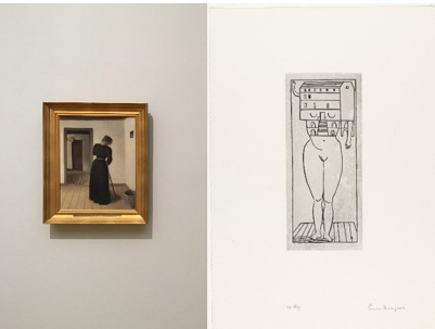 Vilhelm Hammershøi,  Interior with a Young Woman Sweeping , 1899, The Hirschprung Collection and Louise Bourgeois,  Femme Maison , 1990, Private collection.