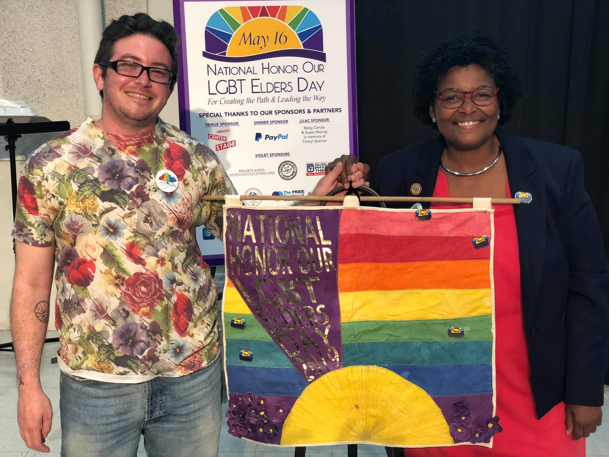 Maryland Senator Mary Washington and Jaimes Mayhew at the 2019 National Honor Our LGBT Elders Day Celebration at Center Stage in Baltimore.