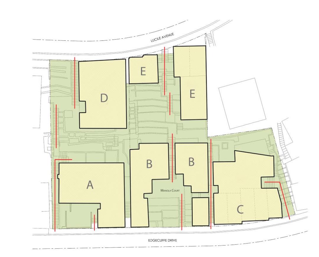 Site plan of Manola Court, courtesy of Enclosures Architects.