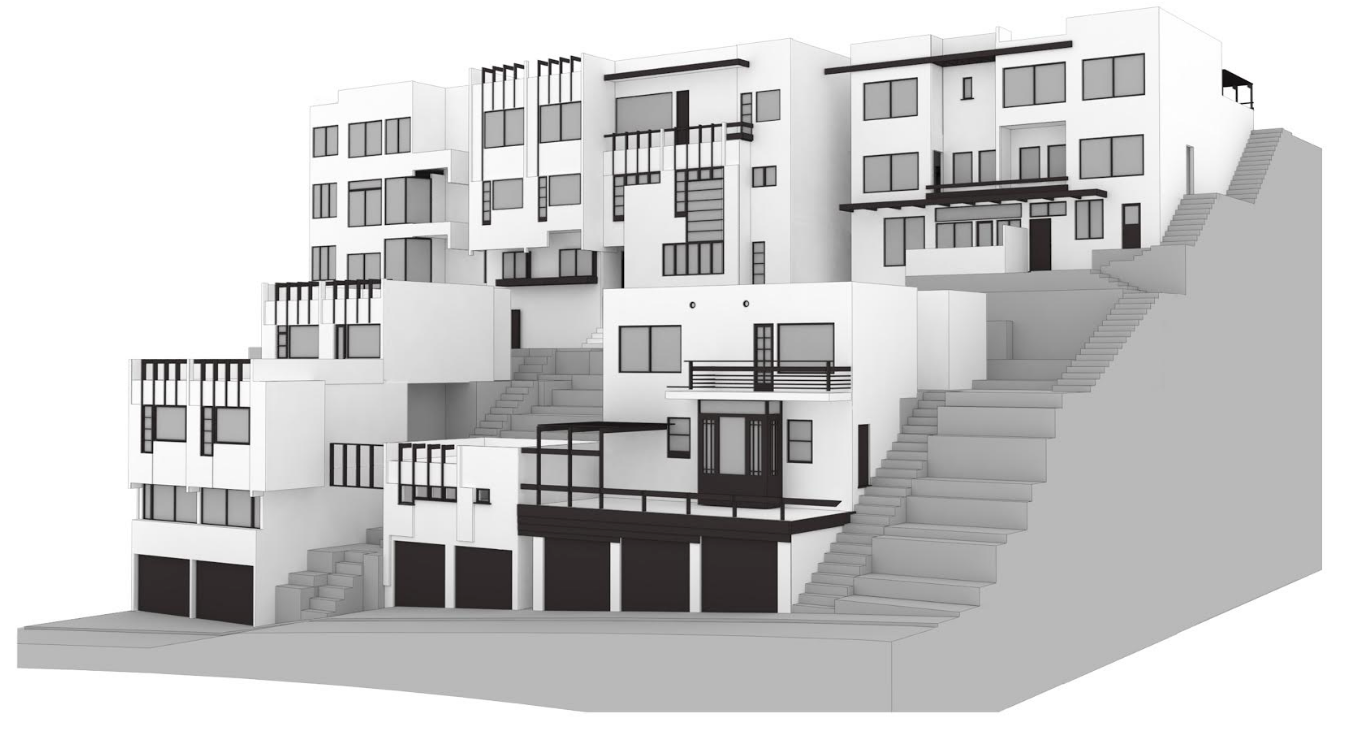 Architects' rendering of the five Manola Court buildings from Lucile Avenue, demonstrating how the property is situated on a street to street lot.