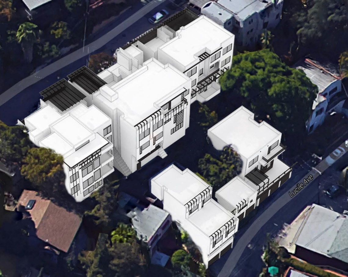 Architects' rendering of the five Manola Court buildings from above.