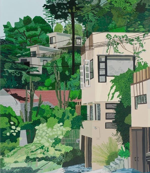Manola Court, painted by #jonaswood in 2013. Not much has changed since then 🌿 ⠀ ⠀ #manolacourt #rmschindler #schindler #rudolphschindler #hermansachs #architecturepainting #painting #midcenturymodern #modernarchitecture