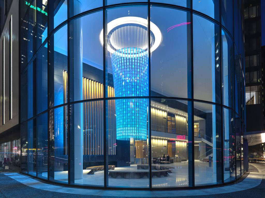 The Beacon at PNC Plaza is a dynamic installation that draws information from the building's green systems. [Strategy and content design]