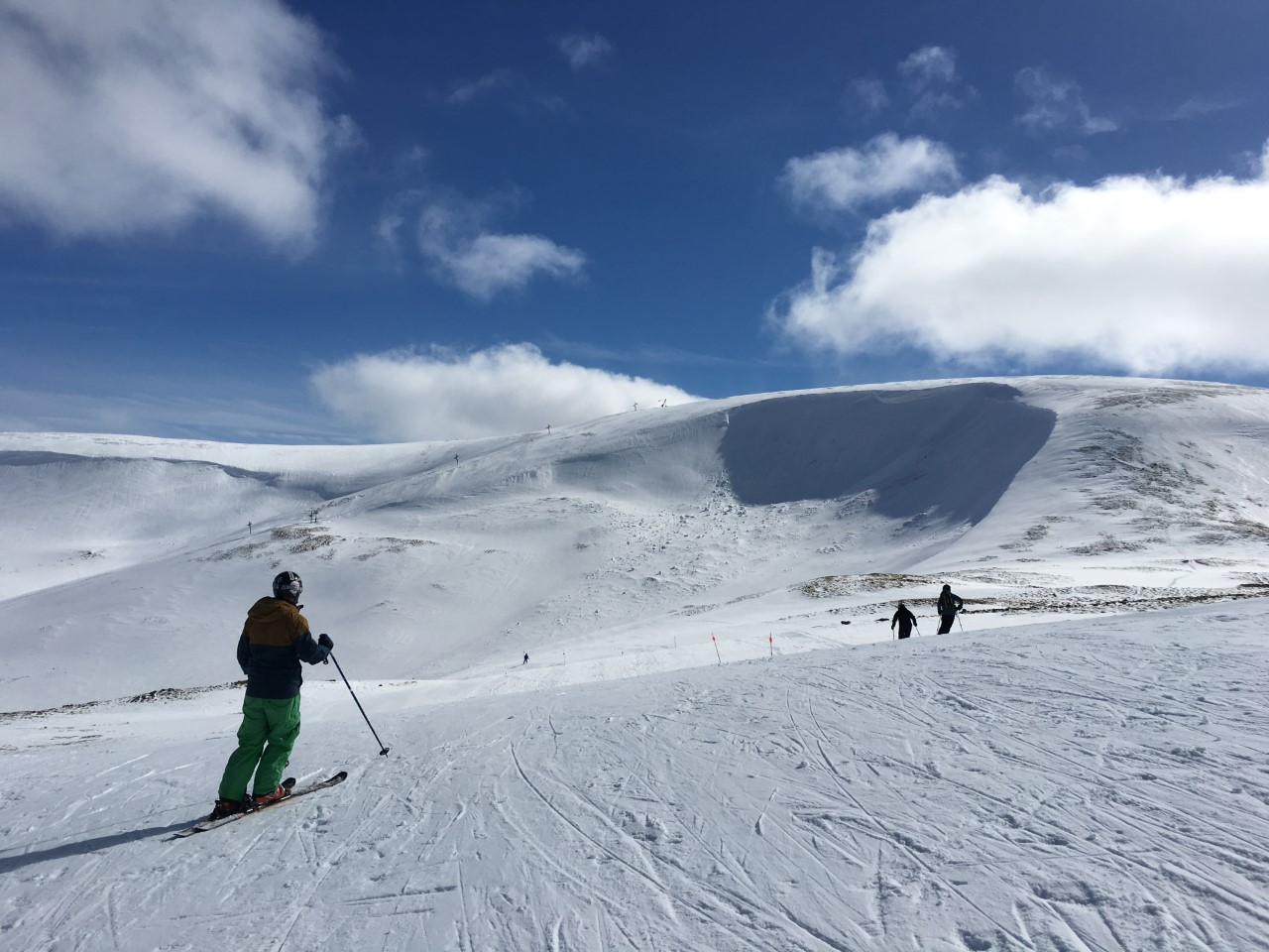 Skiing into the Coire Fionn Gully, shadowed by Glas Maol at Glenshee