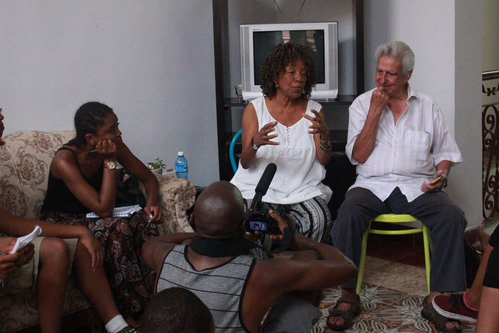 CUBAN POET LAUREATE NANCY MOREJON AND WRITER EMILIO COMAS PARAS - As a part of the trip, various lectures were held to inspire and educate the students on the history of the African Diaspora in Cuba, after which students were required to journal daily and reflect on their experience.