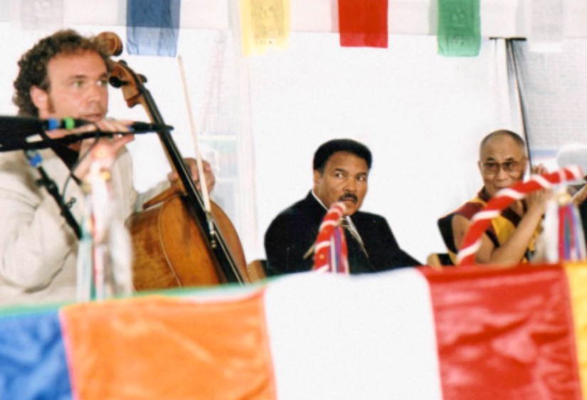 Ali/Dalai photo:  Fitzpatrick's music brought together Muhammad Ali and His Holiness the Dalai Lama.