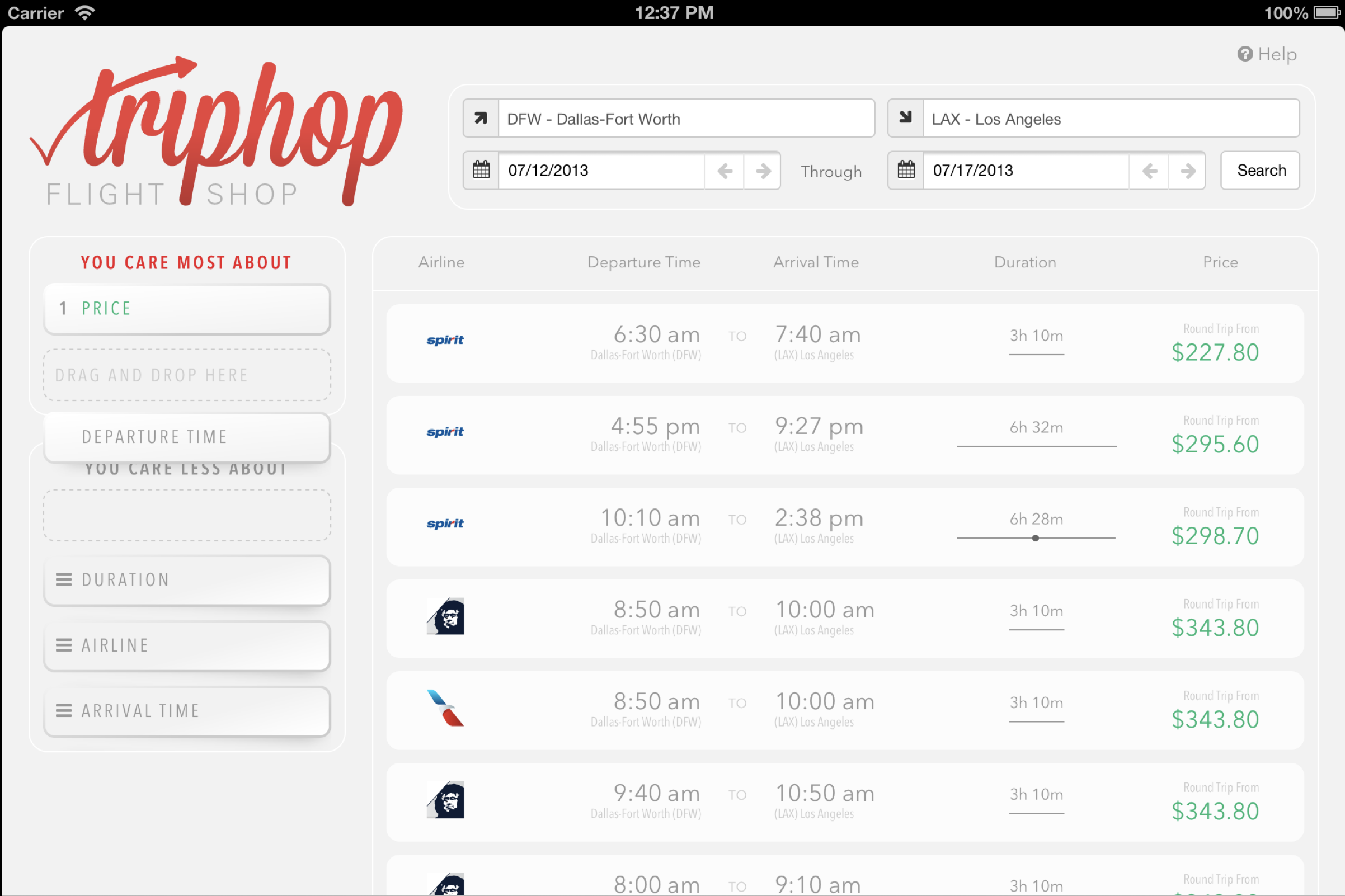 Drag & drop user prioritized flight search UI