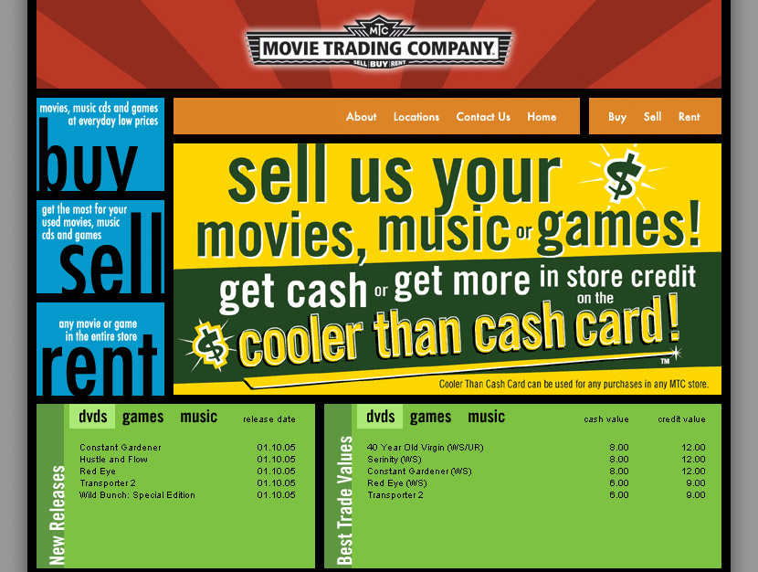 Website for Movie Trading Company
