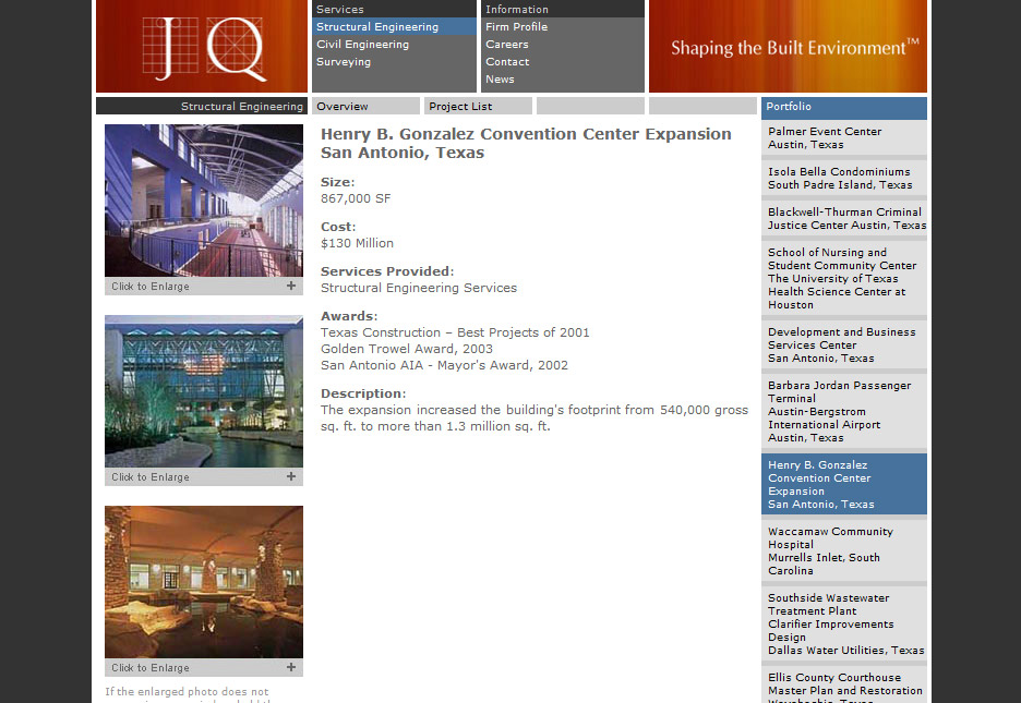 Web site for JQ Engineering