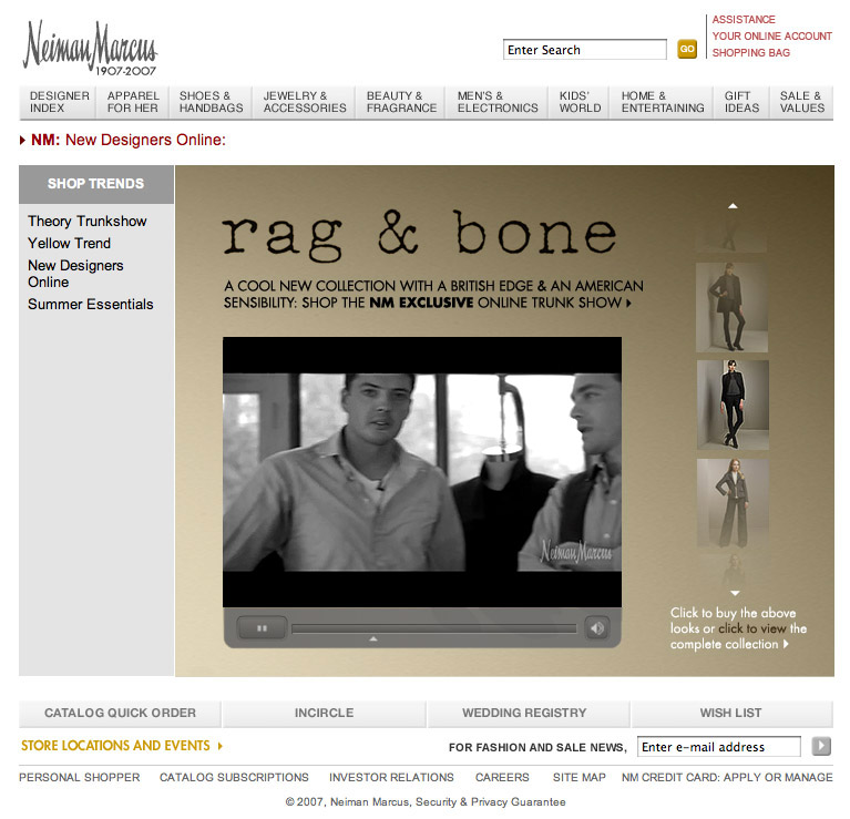 Click-to-purchase interactive video for Rag & Bone
