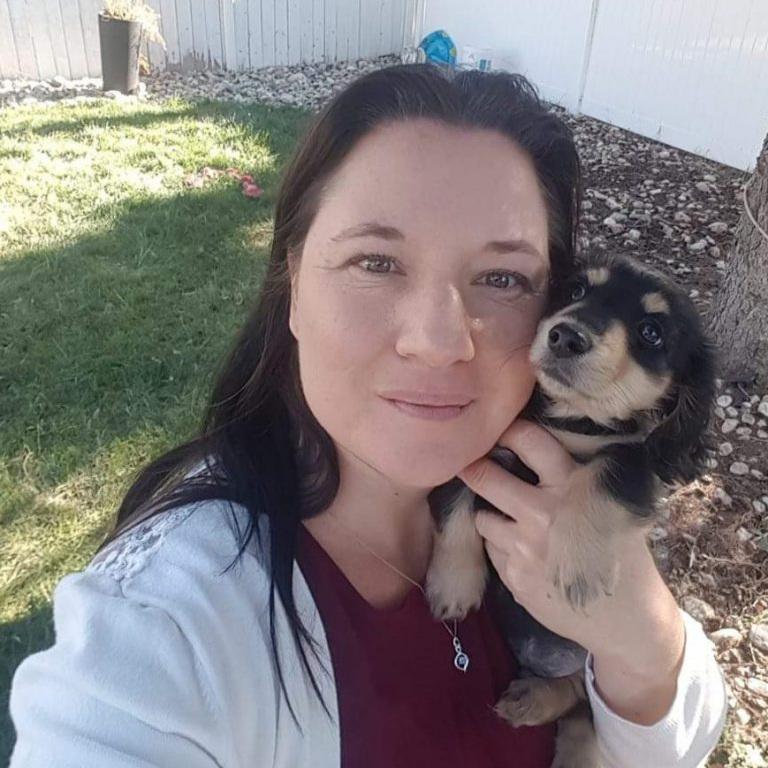 Krista Goebel with her dog