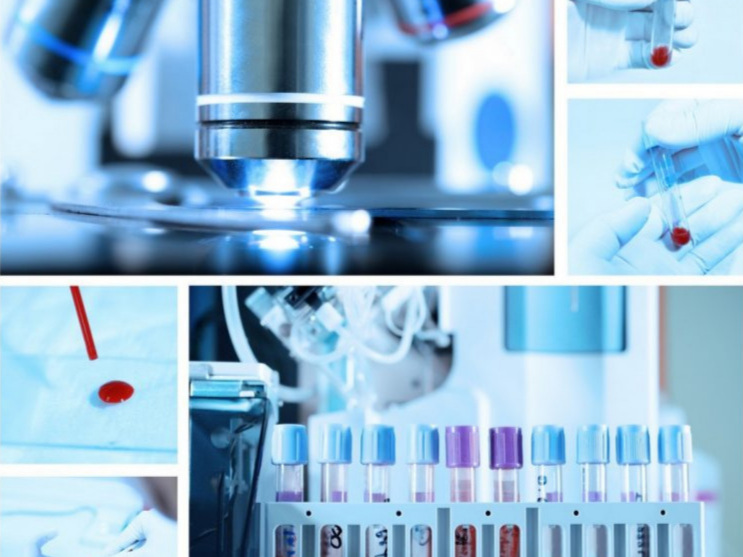 a collage of blue-hued photos of a microscope and blood vials