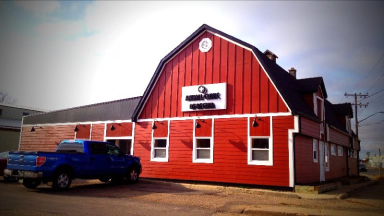 Animal Clinic of Regina building, which looks like a red barn