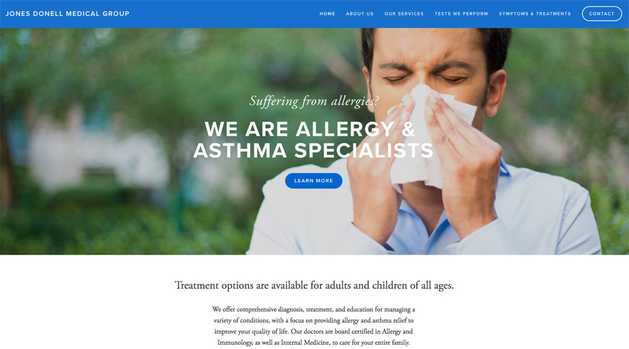 "Photo links to Websites page and is an example of the home page of a website. The top banner in the photo is of a male sneezing with the title ""Suffering from allergies? We are Allergy & Asthma Specialists"""