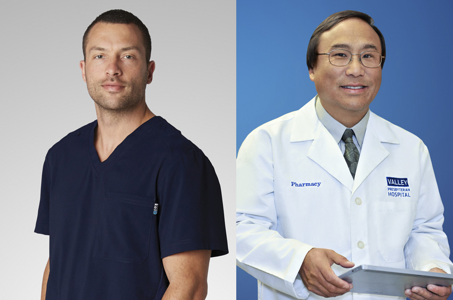 Photo of two health care professionals links to Mobile Photo Studio page. On left is a portrait of a doctor in blue scrubs against a light gray background. On right is a portrait of a pharmacist in a white lab coat against a blue background.