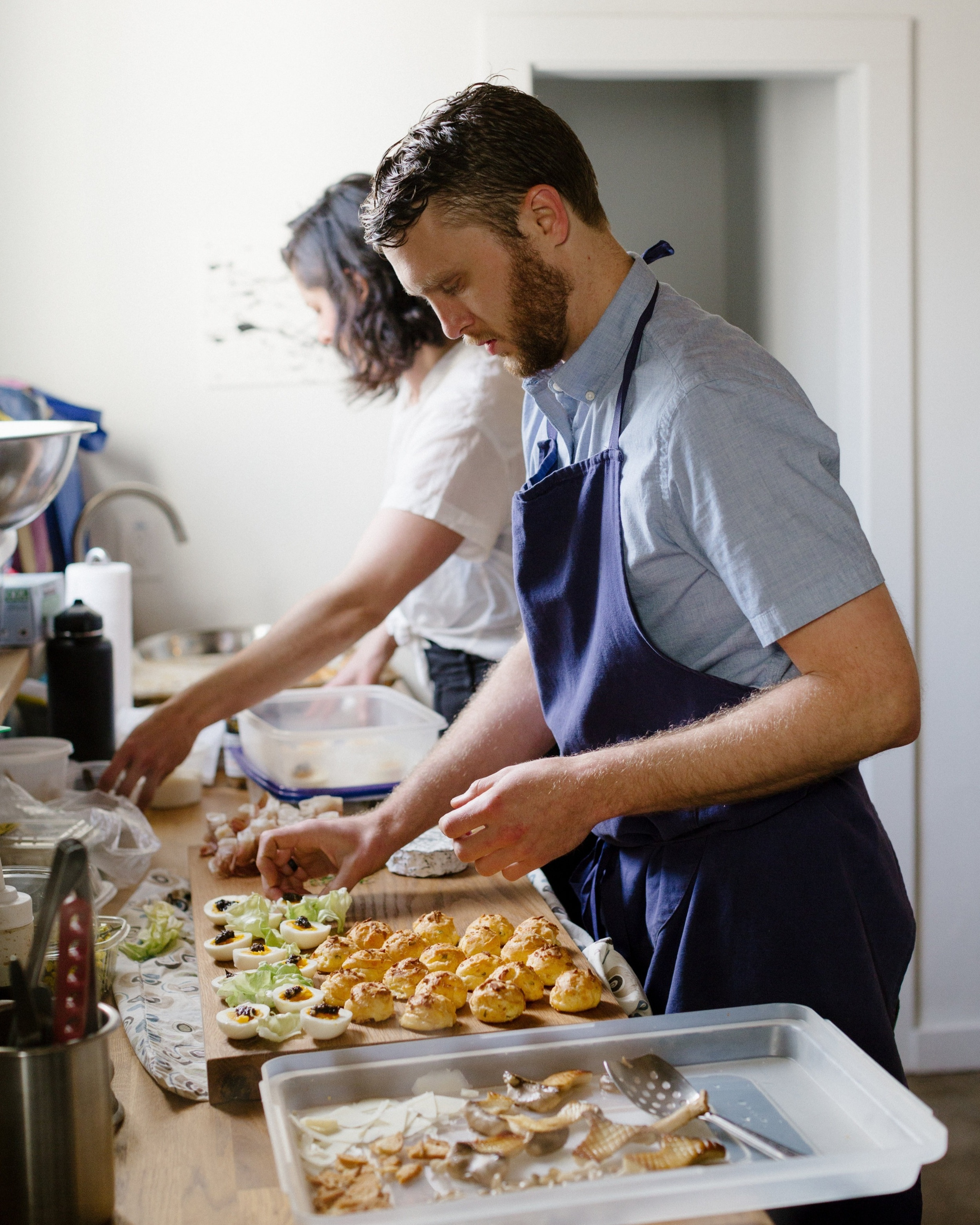 Ollie Honderd - KitchenOllie caught the cooking bug while traveling in the French countryside, and worked in restaurant kitchens throughout his 20's—everything from barbecue to fine-dining, pasta, and sashimi. Now he applies his trained palate and classy-simple-farmy ethos to our seasonal menus and spreads.