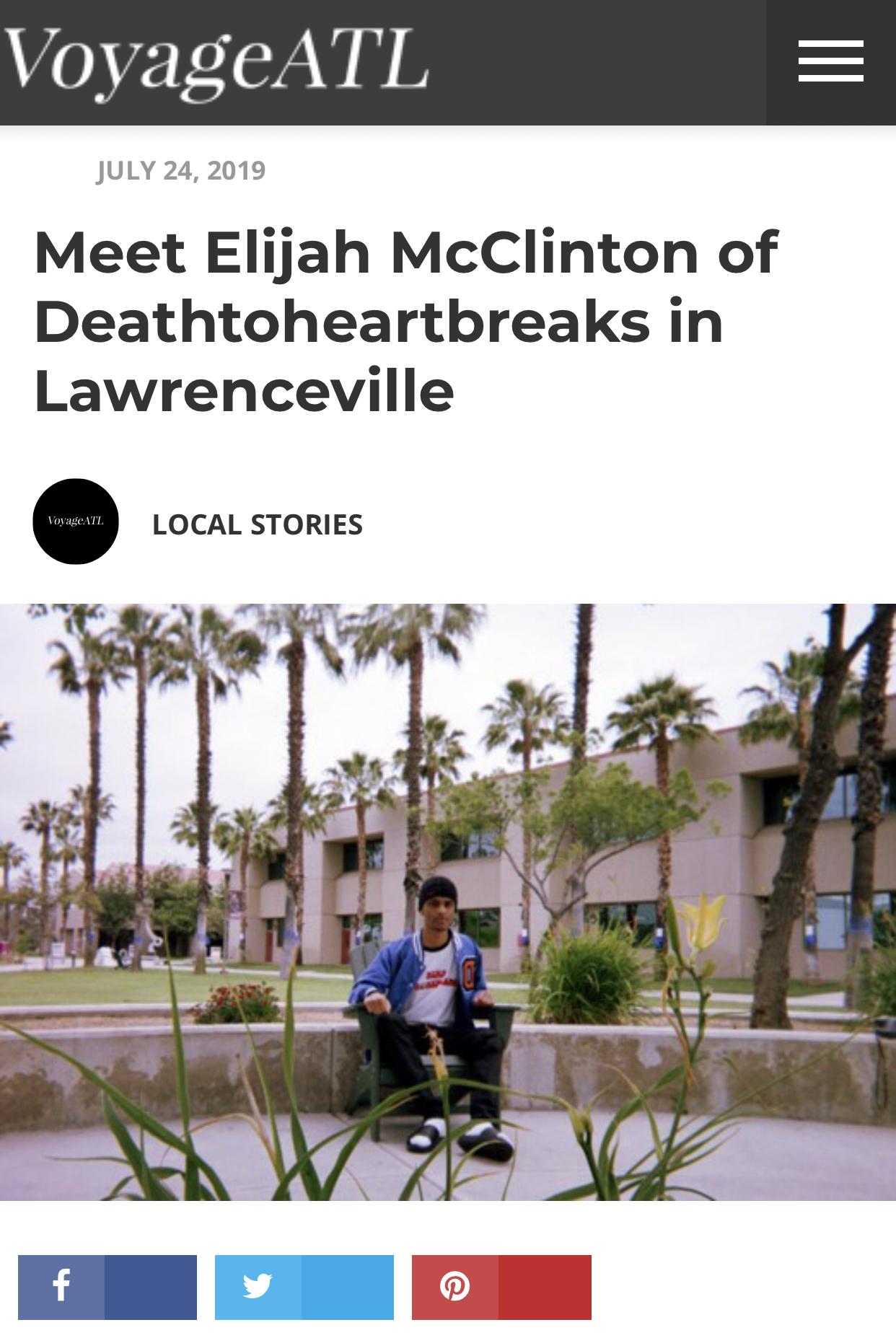 VoyageATL interview - Elijah McClinton and Deathtoheartbreaks interviewed on VoyageATL written by Shelly Tuscano