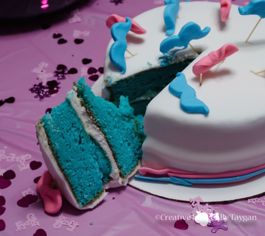 Use cake or cupcakes with the cake dyed blue or pink so that everyone learns your baby's gender at the same time! | Gender Reveal Party Ideas blog post is on LYFETYMES party planning blog!