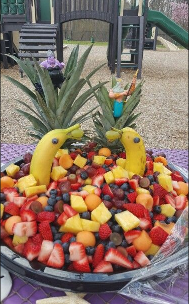 The Little Mermaid birthday party ideas including ocean-themed fruit bowls. LYFETYMES is your #1 party planning website!