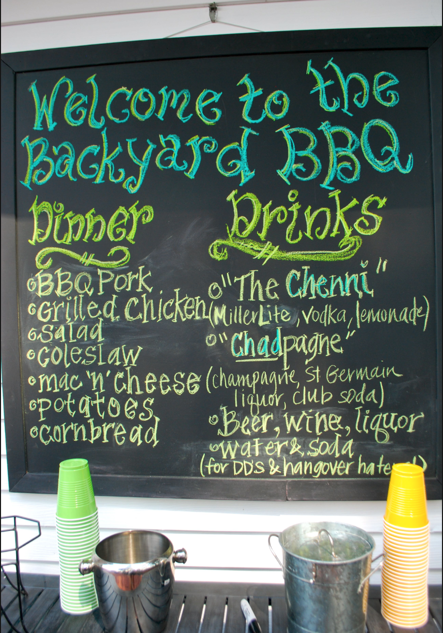 chalkboard summer bbq menu board