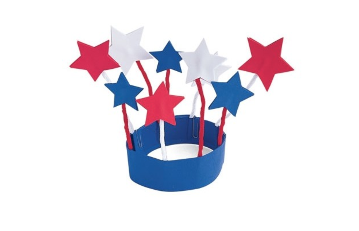 red white and blue star crown