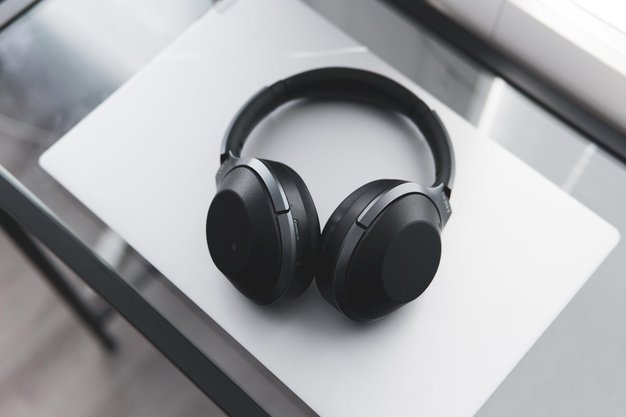 noise canceling headphones on a desk