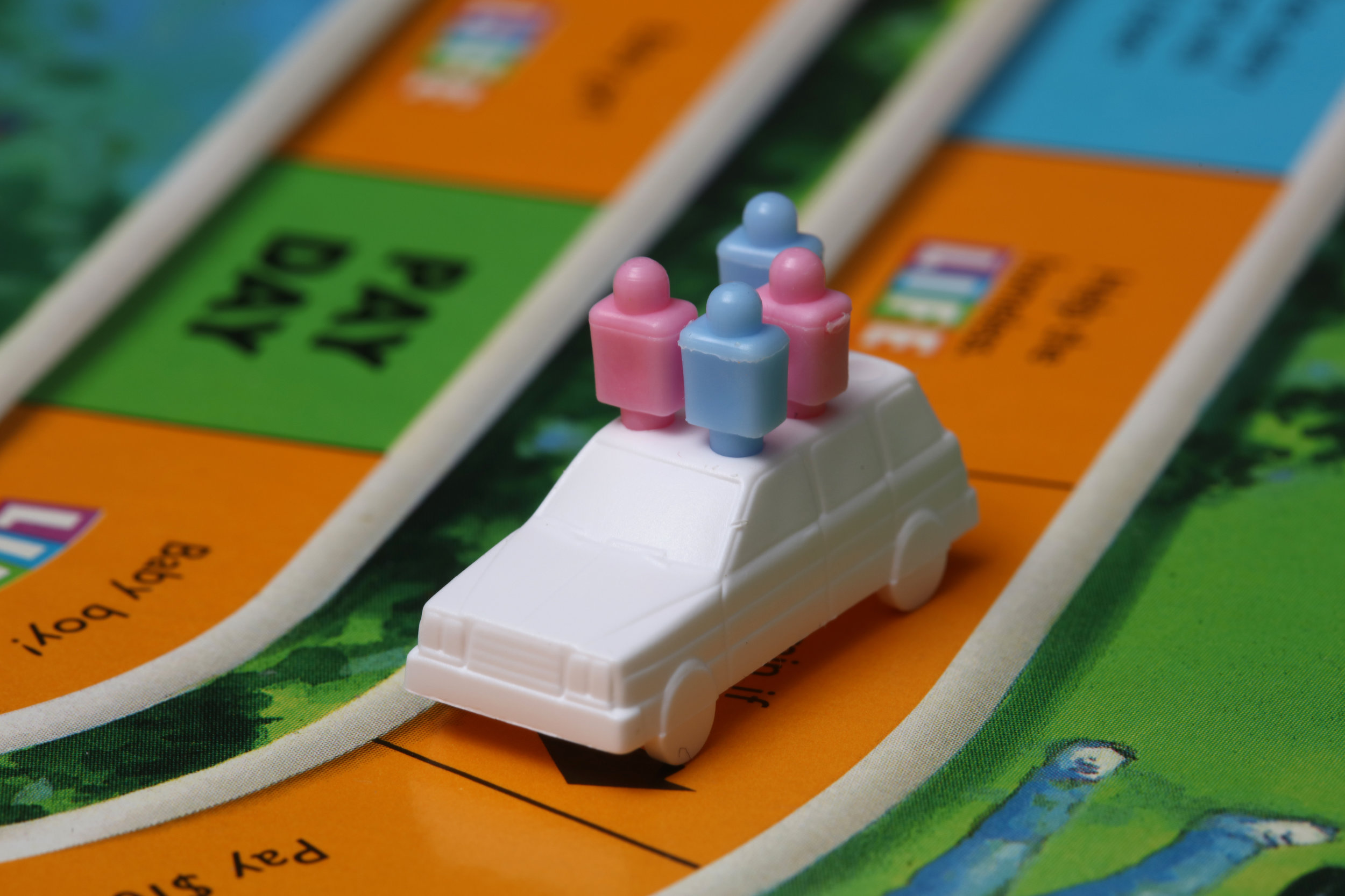 close up photo of a car board game piece