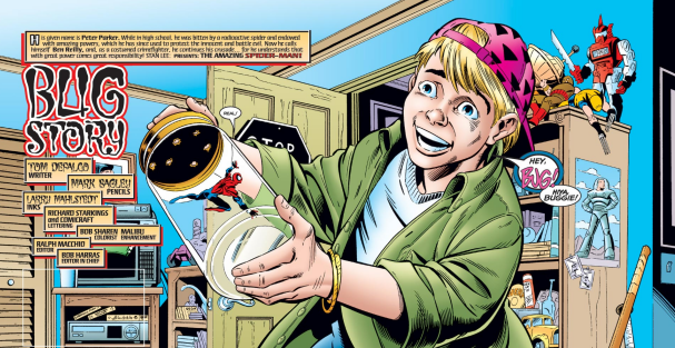 Spider'-Man's clue that this wasn't a real boy is because the kid didn't try to pull his legs off or fry him with sunlight reflected through a magnifying glass.