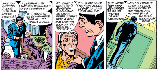Aunt May is really accepting of being dumped in a retirement home.